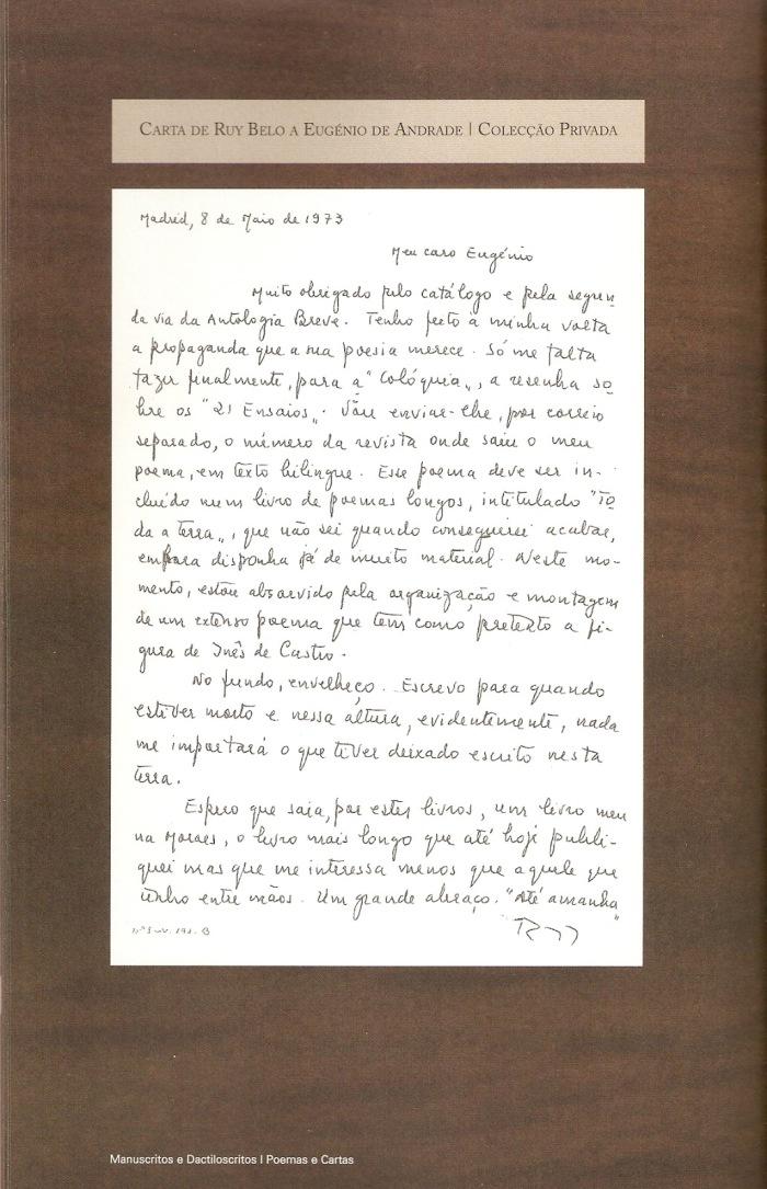 Carta Ruy B. para Eugénio de A.